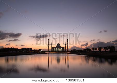 Colorful sunset over beautiful mosque in Thailand