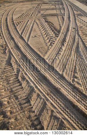 wheel track on the sand in construction site