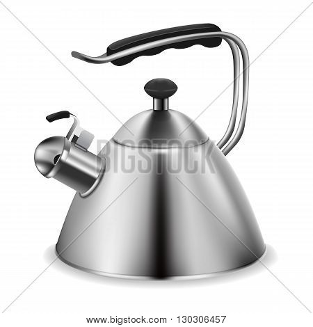 Photorealistic vector steel whistling kettle on white background