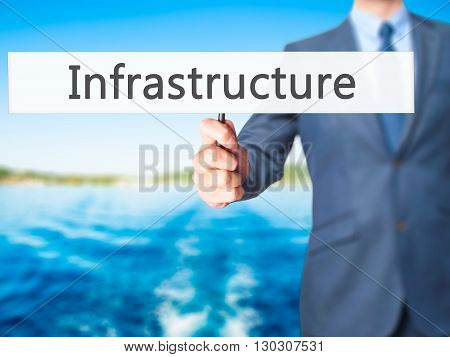 Infrastructure - Businessman Hand Holding Sign