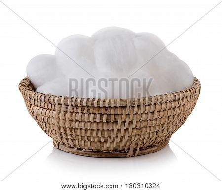 Closeup cotton wool on white background. cotton wool