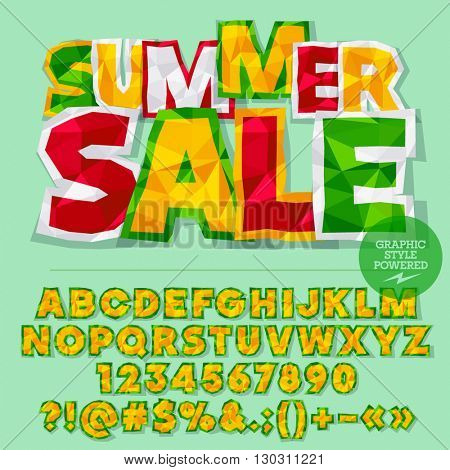Vector colorful crumpled paper alphabet letters, numbers and punctuation symbols. Bright logotype with text Summer sale