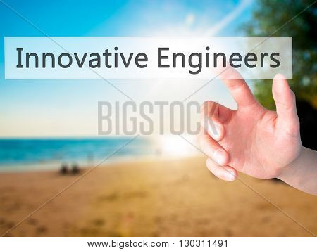 Innovative Engineers  - Hand Pressing A Button On Blurred Background Concept On Visual Screen.
