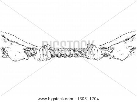 tug of war. human hands and rope isolated on white background