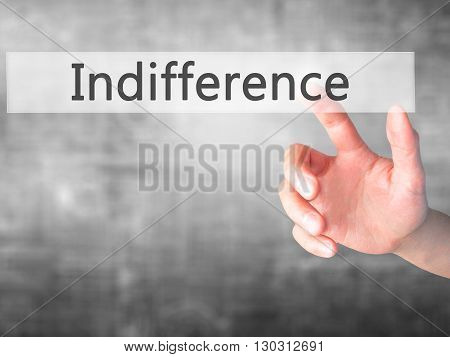 Indifference - Hand Pressing A Button On Blurred Background Concept On Visual Screen.