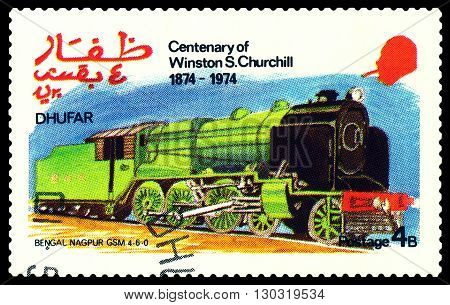 STAVROPOL RUSSIA - MARCH 30 2016: A Stamp printed in the Dhufar shows Old steam locomotive Bengal Nagpur GSM 4-6-0 stamp devoted to the Centenary of Winston S. Churchill circa 1974