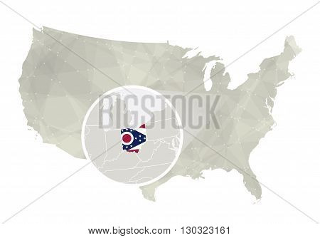 Polygonal Abstract Usa Map With Magnified Ohio State.