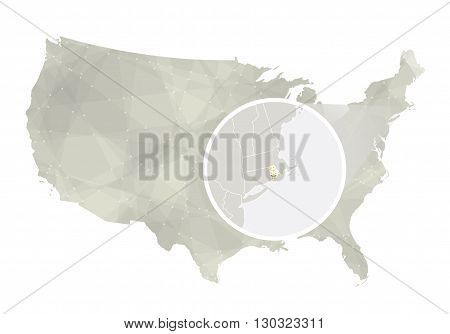 Polygonal Abstract Usa Map With Magnified Rhode Island State.