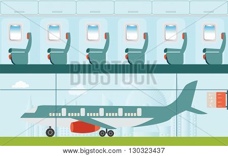 Aeroplane at the airport on city view background and Airline interior with plane seat business travel vector illustration.
