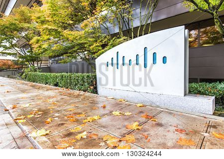 seattle,usa:cisco logo on wall near foopath in seattle by zhudifeng on Nov,9,2015