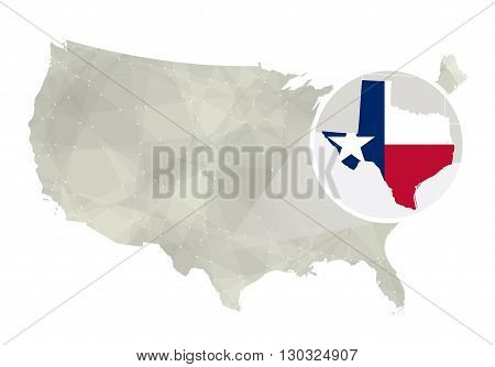 Polygonal Abstract Usa Map With Magnified Texas State.