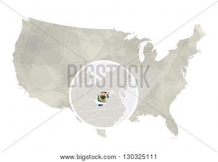 Polygonal Abstract Usa Map With Magnified West Virginia State.