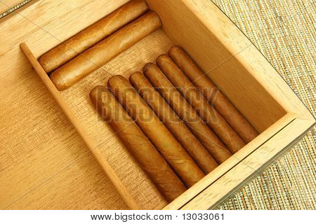 Cigars in open humidor