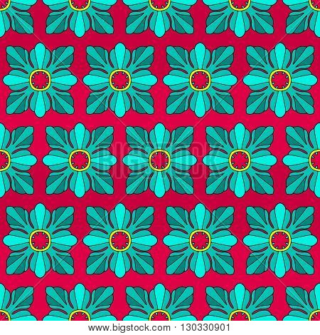 Colored vintage geometric rosettes background. Vector seamless pattern