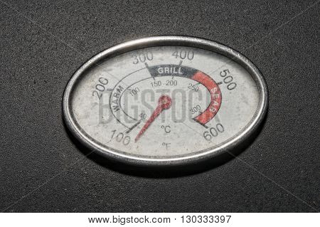 barbecue termometer heat indicator on black detail