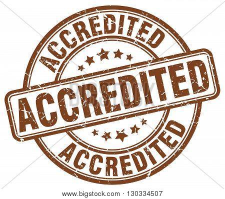 accredited brown grunge round vintage rubber stamp