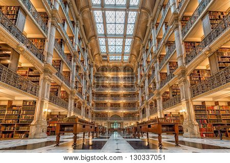 Baltimore, Usa - April, 30 2014 - The Peabody Library Building, Opened In 1878, Was Designed By Balt