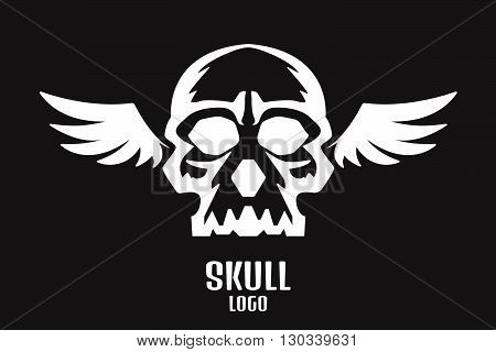 Skull logo wings. Stock vector. Vector illustration.