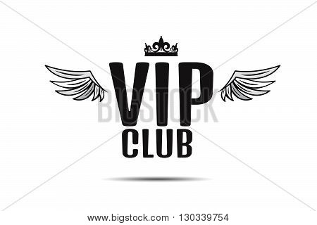 Vip Club Logo Text With Wings