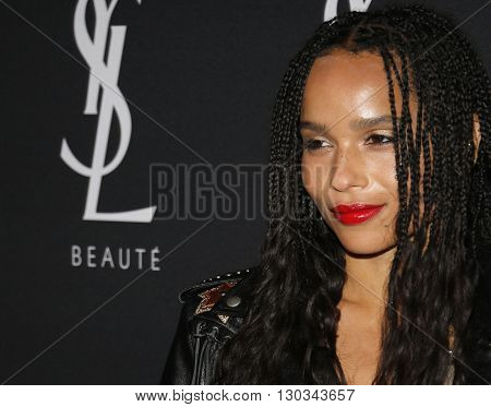 Zoe Kravitz at Zoe Kravitz celebrates her new role with Yves Saint Laurent Beauty held at the Gibson Brands Sunset in West Hollywood, USA on May 18, 2016.