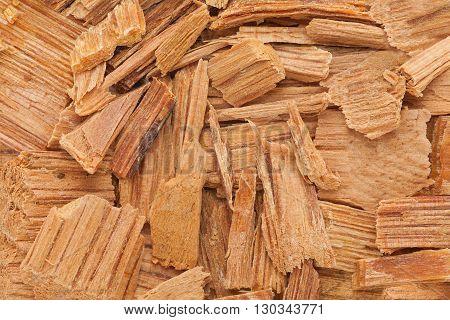 Himalayan cedar or Devadar (Cedrus deodara) Chips. Macro close up background texture. Top view.