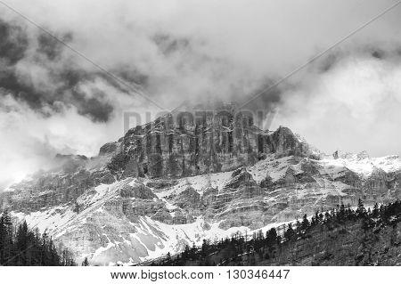 Dolomites Pordoi Mountain Alps Huge View In Black And White