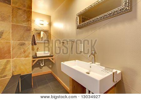 Modern Stylish Bathroom With Large White Sinks