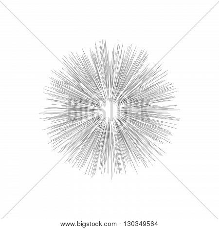Engraving star. Monochrome star burst. Stock vector. Vector illustration.