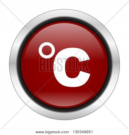 celsius icon, red round button isolated on white background, web design illustration