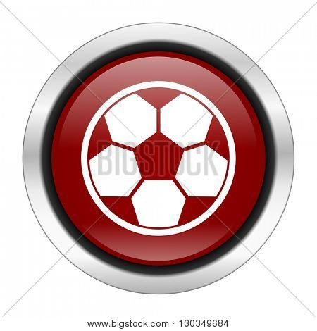 soccer icon, red round button isolated on white background, web design illustration