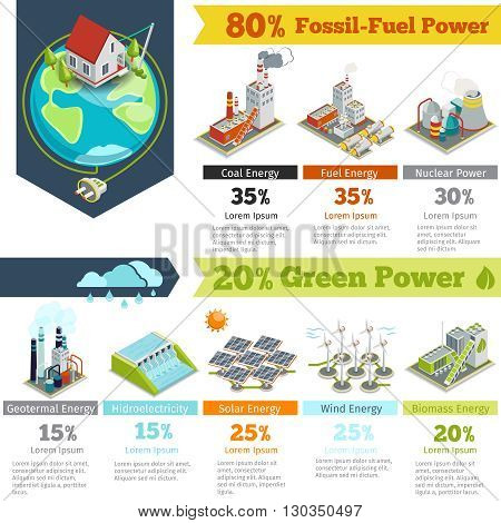 Fossil-fuel power and renewable energy generation infographics. Power generation infographic, electricity energy power generation, plant renewable power generation. Vector illustration