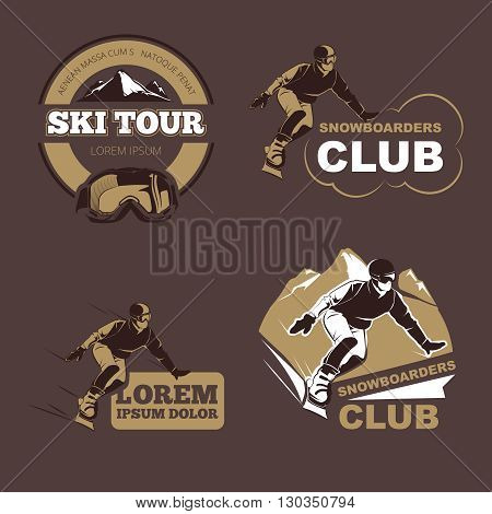 Winter sports, snowboarding and skiing club vector emblems, labels, badges, logos set. Sport snowboarder, label snowboarder, badge snowboarder. Vector illustration