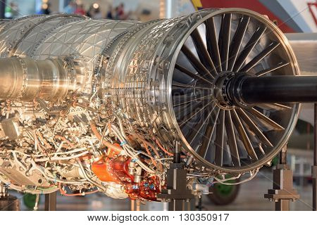Airplane Jet gas turbine engine detail close up