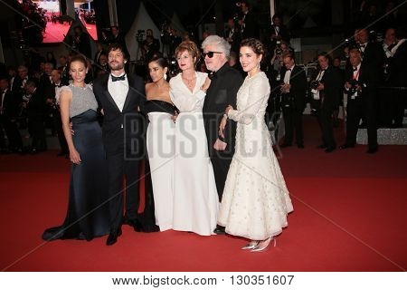 Inma Cuesta, Emma Suarez, Pedro Almodovar,  Adriana Ugarte, Daniel Grao and Michelle Jenner attend the screening of 'Julieta' at the 69th Cannes Festival at Palais  on May 17, 2016 in Cannes, France.