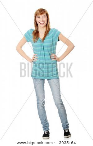 Isolated full length portrait of a beautiful teen woman.