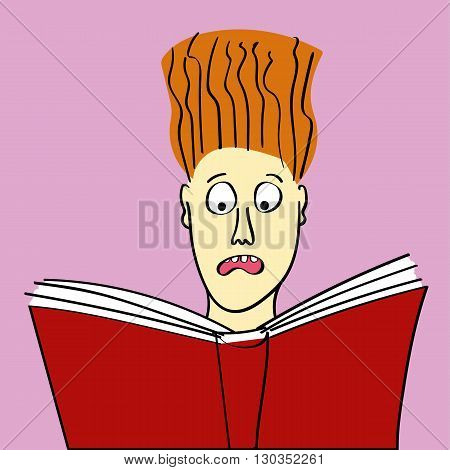 Girl or young woman reading a scary story from a book or some other subject that causes her hair to stand on end