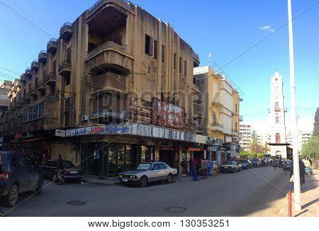 Lebanese town. Tripoli. Tripoli, Lebanon - January 15, 2016: Street life in downtown Tripoli Lebanon.