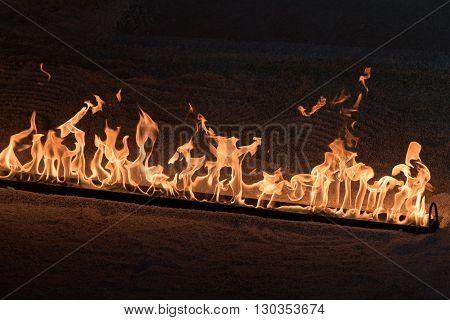 Orange Flames On Black Background