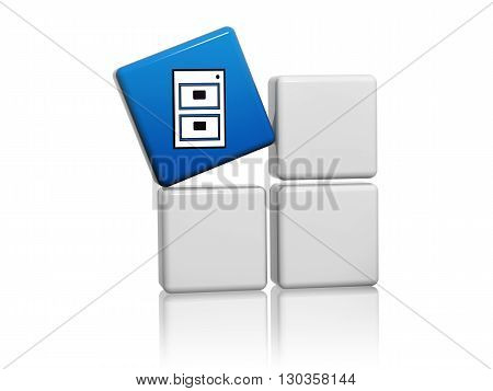 server sign - blue cube with white symbol on grey boxes 3D illustration computer network icon concept