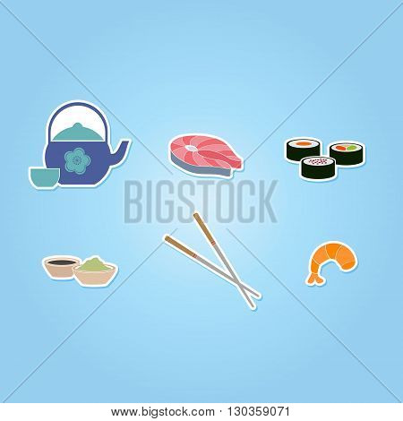 color icon set with sushi and sake for your design