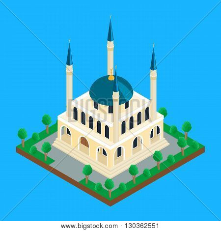 vector illustration. Islamic mosque with minaret towers. isometric infographics 3D poster