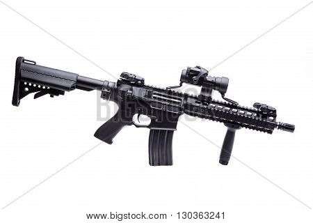 Modern US specops rifle with optic scope isolated on white background