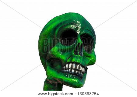 A Green Paper Skull On White Background