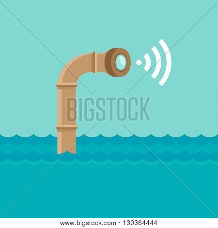 Vector abstract illustration in flat style - periscope in the sea water - surveillance and control concept - social network broadcasting