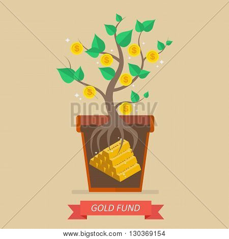 Passive income from gold fund. Business concept
