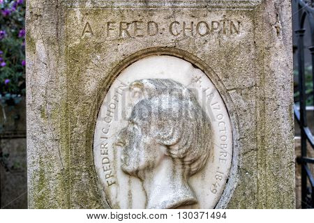 Paris, France - May 2, 2016: Rossini Grave In Pere-lachaise Cemetery