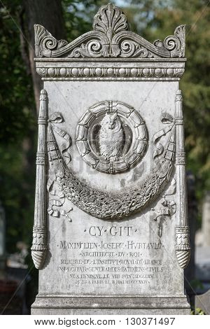 Paris, France - May 2, 2016: Cy Git Architect Grave In Pere-lachaise Cemetery Homeopaty Founder
