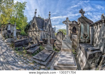 Paris, France - May 2, 2016: Old Graves In Pere-lachaise Cemetery