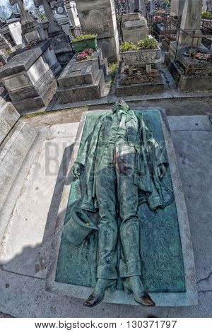 Paris, France - May 2, 2016: Victor Noir Grave In Pere-lachaise Cemetery Homeopaty Founder