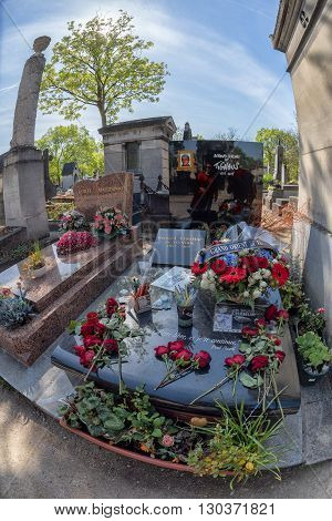Paris, France - May 2, 2016: Bernard Vetchac Aka Tignus Of Charlie Hebdo  Grave In Pere-lachaise Cem